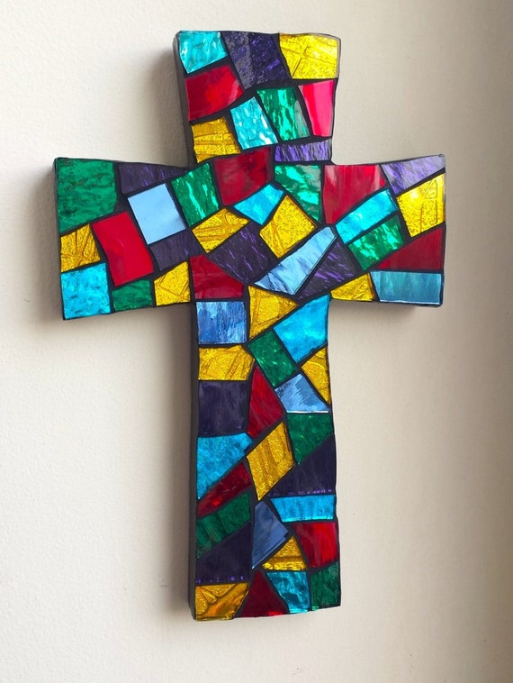 Mosaic Wall Cross Religious Wall Art Stained Glass Mosaic