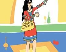 persian woman print, iranian girl, funny illustration, selfie drawing, funny drawing, qajar illustration, girl selfie illustration, 8x10