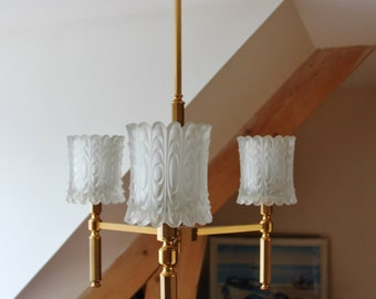 French suspension 3 branches of the 60s - chandelier vintage of high quality/illuminati10