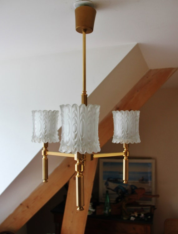 french suspension 3 branches of the 60s chandelier vintage