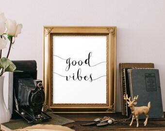 Good Vibes Teen Room Decor Inspirational Poster Quote Print Printable Wall Art Wall Decor Digital Typography Poster Print Teen Bedroom Decor
