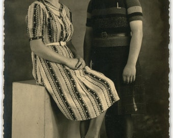 Twins- 1950s Vintage Photograph- two sisters- Real Photo Postcard- RPPC- studio portrait- family photo- Paper Ephemera