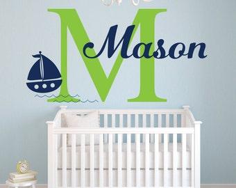 Name Wall Decal - Sailboat Wall Decal - Nautical Wall Decal - Custom Name Decal - Baby Boy Room Decor - Nursery Wall Decal