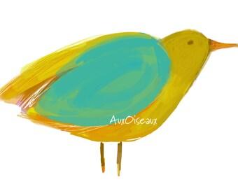 Oiseau jaune, turquoise, couleurs automne, dessin numérique original, impression de qualité, type giclée. Cadre non-inclus.