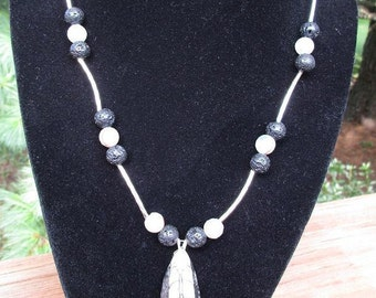 Mens Silver & Fossil Necklace