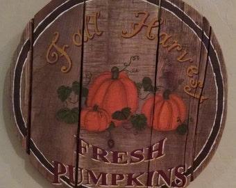 Fall Harvest Pumpkin Sign, Rustic Pallet Wood Sign