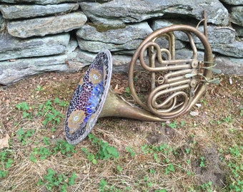 One of kind mosaiced antique french horn - stunning! Gorgeous wall art or use it as a hanging light. Incredible gift for a music lover!