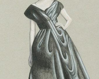 "Couture Fashion Drawing, Fashion Illustration Print, Gicleé Art Print, ""Dior Lady II"", Samantha Burns, Samantha Illustration"