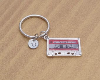 Tape Keychain, Cassette Tape Keychain, Musical Keychain, Cassette Tape, Music, Personalized Keychain, Customized, Initial, Gift for Him