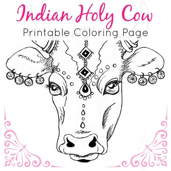 Animal Coloring Page Indian Holy Cow Adult
