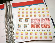 Movie Night Stickers, Cinema stickers, Planner Stickers Set of 50 for Erin Condren, Plum Paper, Kikki, or Filofax Planners