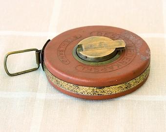 Vintage steel tape Leather and brass case tape German measuring tape 20 meters Large antique Stewe meter metal tape Measure tool For him