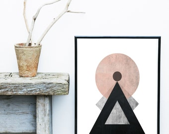 Mid Century Print, Abstract Art Print, Printable Art, Scandinavian Design, Geometric Art, Abstract Wall Art, Digital Download, Wall Decor