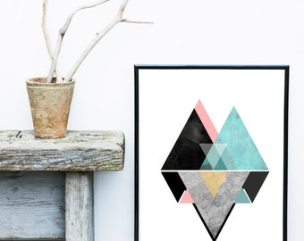 Geometric Wall Art, Printable Art, Mid Century Modern, Geometric Art, Wall Decor, Abstract Art Print, Scandinavian Art