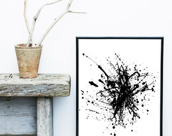Black Watercolor Print, Abstract Art Print, Printable Art, black Abstract, Black Wall art, Minimalist Art, Abstract Wall Art, Home Decor