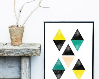 Diamond Print, Geometric Print, Printable Art Instant Download, Triangle Print, Geometric Art, Geometric Wall Art, Home Decor, Wall Decor