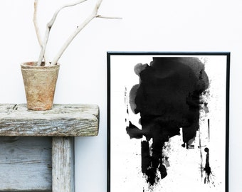 Modern Minimalist Print, Watercolor Painting, Printable Art,  Abstract Art Print, black Abstract, Home Decor, Instant Download, Wall Decor