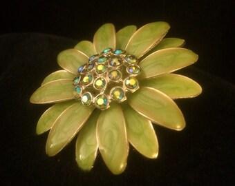 Green enamel and rhinestone brooch
