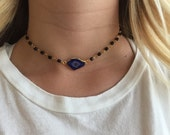 Purple-Blue Druzy Slice Choker Necklace