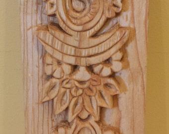 Wood Hand carved Mango Motif wall piece- SA-002