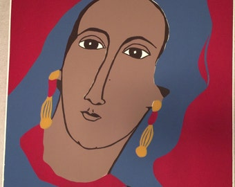 Vintage Mediterranean Lady large original silkscreen by Gail Holliday, 1972