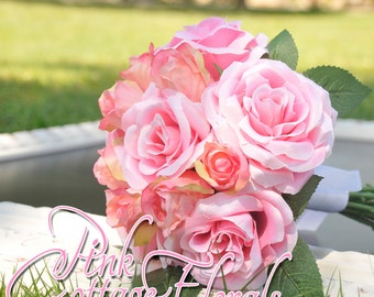 Lovely Pink Rose Bridal Bouquet. Romantic Pink Rose Bouquet. Pink Rose Bridesmaid Bouquet. Victorian Handmade