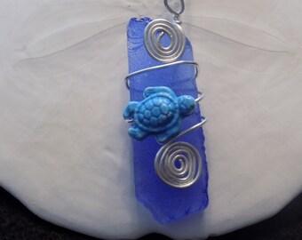 "Blue sea stone, Wire wrap,  18"" Necklace"