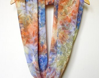 Watercolor Scarf Print Scarf Infinity Scarf Summer Scarf Colorful Scarf Coral Blue Green Scarves Women Fashion Scarves Abstract Print
