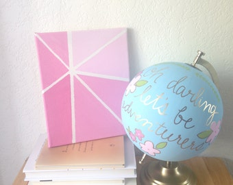 Pink Ombre Geometric Canvas Painting