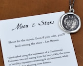Moon & Stars Wax Seal Necklace from an antique wax seal - 162