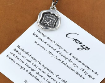 Courage - Wax Seal Necklace of Lion Rampant - Lion Wax Seal Pendant - 151