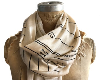 Library Book Scarf. Library Date Due scarf, parchment & more. Literary gift. Bookish, bookworm. Librarian gift, author gift, teacher gift.