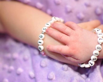 Set of Sister bracelets. SISTERS Big Sister Little Sister Gift Set Hypoallergenic. No metal. Hospital new baby gift