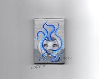 Blue tentacle octopus pumpkin art original Halloween art grey monochrome gothic art horror Lovecraft cute spooky art