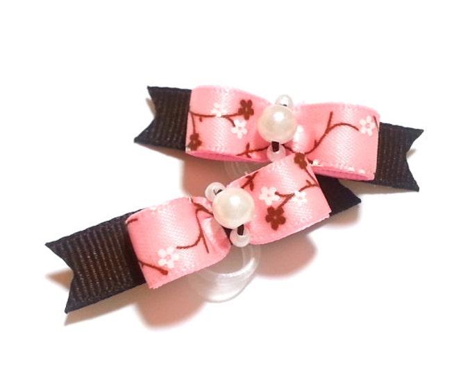 Pink Dog Bows, Apple Blossoms, Spring Vine, Girl Dog Bows, Satin Bow, Flower Bows