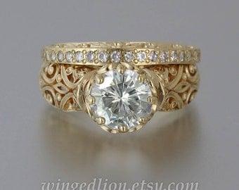 The ENCHANTED PRINCESS Moissanite 14K gold engagement ring & wedding band set