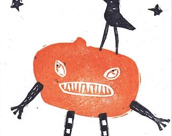 Halloween Crow and Jack-O-Lantern Pumpkin Man Original Hand Printed Linocut Art Card