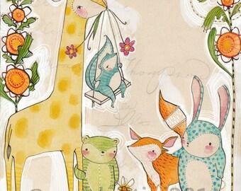 "Nursery Art, animal friends, archival Print - ""8 x 10""  Animal Themed Nursery Baby Room Decorating Ideas Archival and Limited edition"