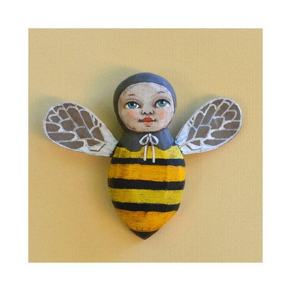 Little Anthropomorphic Bee Hand-Painted Wooden Sculpture Original Contemporary Folk Art OOAK