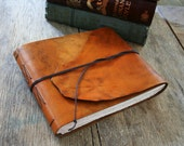 """Leather Sketchbook / Guestbook . 7.25"""" high x 8.5"""" wide. Handmade Handbound . hand-dyed tan (320pgs)"""
