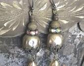 Vintage Earrings, Upcycled Boho Bride Ornate Earrings Miriam Haskell Style Vintage Pearls Dangle