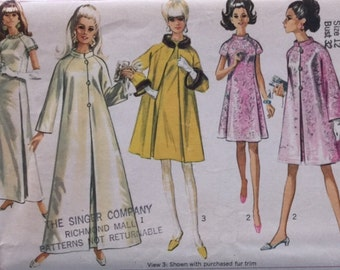 Vintage 60s Princess Seam A Line Dress Wedding Gown Opera Swing Coat Sewing Pattern