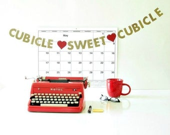 "Cubicle Sweet Cubicle  MINI BANNER, Office Desk Accessory, 1.5"" Glitter Letter Garland, Coworker Gift, New Job Gift, Cubicle Decoration"