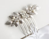 Bridal Comb Small Wedding Hair comb Wedding Jewelry Silver Leaf Comb Hair Accessory Bridesmaid Comb  MIRA