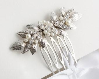 Bridal Comb Small Wedding Hair comb Wedding Jewelry Silver Leaf Comb Hair Accessory Bridesmaid Comb  MIRA