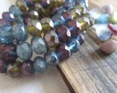 matte czech rondelle beads, faceted czech glass beads , matte purple green olive and blue mix     6mm x 8mm / 12 beads  5CZ229