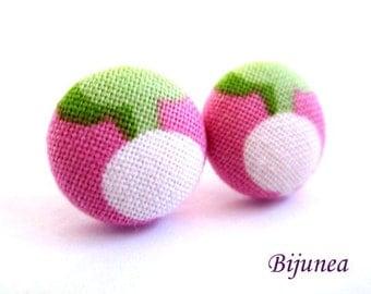 Turnip earrings - Turnip vegetable stud earrings - Turnip post earrings - Turnip vegetablepink posts sf1239