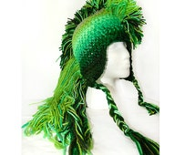 Extreme Long Green Ombre Tones  Mohawk Hat