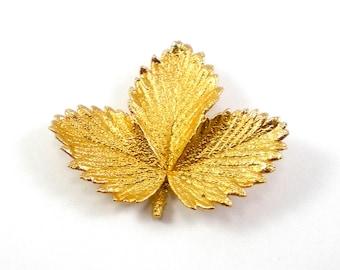 Gold Leaf Brooch Pin Vintage Jewelry