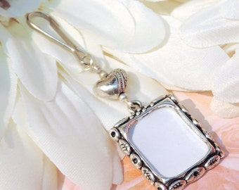 Wedding bouquet photo charm w/ small heart. Photo charm for a Bride's bouquet. Bridal shower gift. Gift for the bride. Antique silver tones